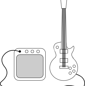 Illustration of an electric guitar and amplifier